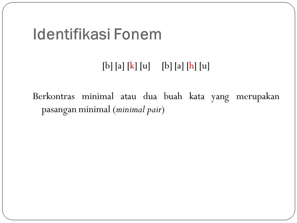 Identifikasi Fonem [b] [a] [k] [u] [b] [a] [h] [u] Berkontras minimal atau dua buah kata yang merupakan pasangan minimal (minimal pair)